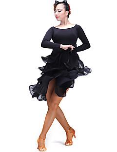 baratos Roupas de Dança Latina-Dança Latina Fundos Mulheres Espetáculo Tule / Fibra de Leite Fru-Fru Natural Saia