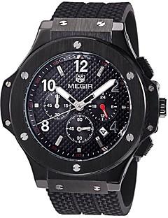 お買い得  有名ブランド腕時計-MEGIR 男性用 リストウォッチ 軍用腕時計 ファッションウォッチ スポーツウォッチ クォーツ カレンダー スイスの 夜光計 デザイナー 本革 バンド ぜいたく ヴィンテージ カジュアル 多色