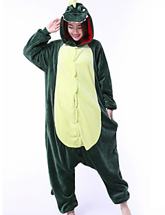 billige Kigurumi-Kigurumi-pysjamas Dinosaur Drage Onesie-pysjamas Kostume Korallfleece Grønn Cosplay Til Pysjamas med dyremotiv Tegnefilm Halloween