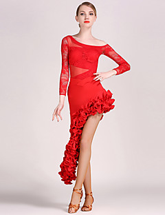 High-quality Lace and Tulle with Draped Latin Dance Outfits for Women's Performance (More Colors)