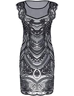 bainha / coluna ilusão decote curto / mini vestido de festa de cocktail de poliéster com lantejoulas