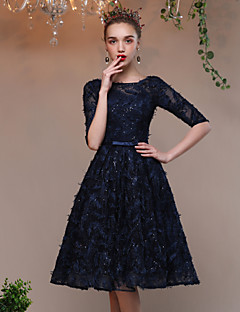 A-Line Jewel Neck Knee Length Lace Tulle Cocktail Party Dress with Bow(s) Lace Bandage by QZ