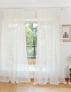 baratos Cortinas Transparentes-Sheer Curtains Shades Quarto Flor Poliéster Bordado