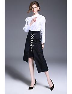 Dames Eenvoudig Lente Herfst Overhemd,Werk Effen Opstaand Lange mouw Wit Katoen Medium