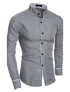 Men's Daily Casual All Seasons Shirt,Solid Standing Collar Long Sleeves Cotton Polyester