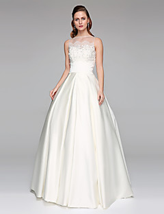 Prenses Illüzyon boyun çizgisi Yere Kadar Dantelalar Saten Düğün elbisesi ile Boncuklama Aplik tarafından LAN TING BRIDE®