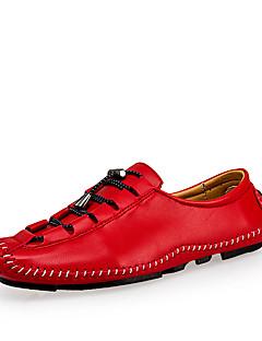 hesapli -Erkek Ayakkabı Tüylü Bahar / Sonbahar Rahat Oxford Modeli Günlük / Parti ve Gece için Düğme Gri / Kahverengi / Kırmzı