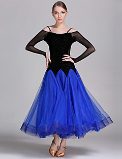 cheap Ballroom Dance Wear-High-quality Velvet with Ruffles Performance Dresses for Women's Performance(More Colors)