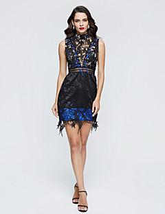 Linha A Gola Alta Curto / Mini Renda Coquetel Vestido com Renda Pregas de TS Couture®