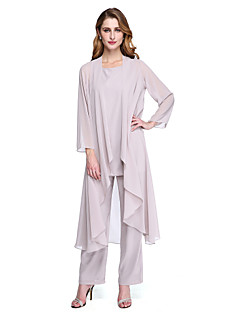 cheap Mother of the Bride Dresses-Pantsuit Scoop Neck Ankle Length Chiffon Mother of the Bride Dress with Pleats by LAN TING BRIDE® / Wrap Included