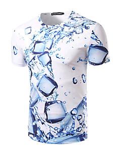 halpa -Lyhythihainen Keskipaksu Pyöreä kaula-aukko Puuvilla Kesä Yksinkertainen Aktiivinen Bile Puku- T-paita,Painettu Valkoinen
