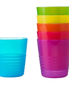 hesapli Günlük Bardaklar-Parti gezisi açık çocuk için 6pcs kalas gökkuşağı renkli kupa İsveç plastik bardak ayarla