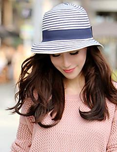 billige Trendy hatter-Dame Vintage Fritid Bøttehatt Stråhatt Solhatt,Sommer Stripet Strå Blå
