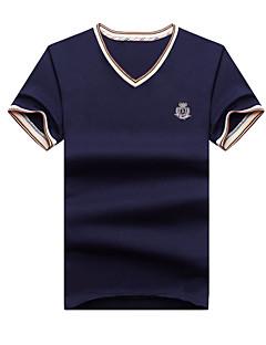メンズ カジュアル/普段着 ビーチ プラスサイズ 夏 Tシャツ,シンプル ストリートファッション 活発的 Vネック ソリッド 刺しゅう コットン 半袖 薄手 ミディアム