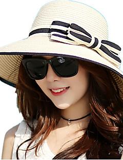 Χαμηλού Κόστους Breezy & Chic Straw Hats-Γυναικεία Ριγέ, Βίντατζ Υπαίθριο Φιόγκος - Ψάθινο καπέλο Καπέλο ηλίου
