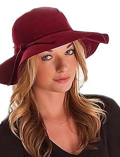 billige Trendy hatter-Dame Vintage Fritid Fedora, Alle årstider Ensfarget Ull Bomullsblanding Viskose Svart Rød Kamel Vin Marineblå