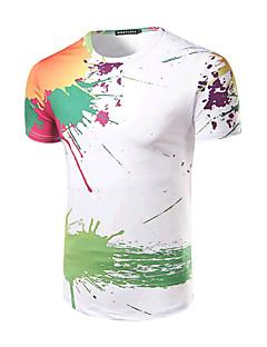 メンズ お出かけ フォーマル 夏 Tシャツ,シンプル 活発的 ラウンドネック プリント ホワイト コットン 半袖 ミディアム