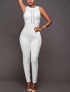 Women's Slim JumpsuitsCasual/Daily / Club Sexy / Simple Solid Beaded Slim Hin Thin Round Neck Sleeveless Mid Rise Micro-elastic Summer / Fall