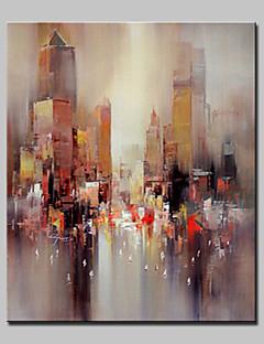 tanie Pejzaże abstrakcyjne-Hang-Malowane obraz olejny Ręcznie malowane - Abstrakcja / Pejzaż abstrakcyjny Nowoczesny / Fason europejski Brezentowy