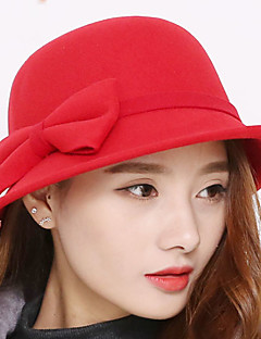 Women 's Casual Curled Big Bowknot Wool Pure Color Wool Bowler-hat