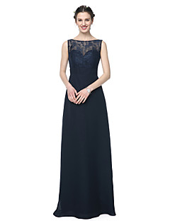cheap Long Bridesmaid Dresses-Sheath / Column Bateau Neck Floor Length Chiffon Lace Bridesmaid Dress with Lace Sash / Ribbon Pleats by LAN TING BRIDE®