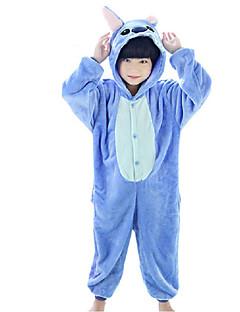 billige Kigurumi-Kigurumi-pysjamas Blå Monster Anime Onesie-pysjamas Kostume Korallfleece Rose Blå Cosplay Til Barne Pysjamas med dyremotiv Tegnefilm