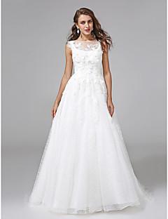 billiga Brudklänningar-A-linje Bateau Neck Hovsläp Spets / Organza Bröllopsklänningar tillverkade med Bård / Applikationsbroderi / Blomma av LAN TING BRIDE®
