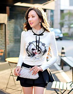 Feminino Camiseta Para Noite Casual Férias Fofo Moda de Rua Sofisticado Primavera Outono,Estampado Estampa Colorida RetalhosAlgodão