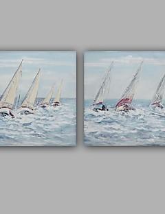 tanie Pejzaże abstrakcyjne-Ręcznie malowane Krajobraz Kwadrat, Klasyczny Nowoczesny Brezentowy Hang-Malowane obraz olejny Dekoracja domowa Dwa panele