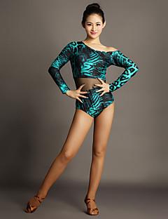 tanie Stroje do tańca latino-Taniec latynoamerykański Leotards Damskie Wydajność Tiul Aksamit Łączenie Długi rękaw Naturalny Trykot opinający ciało / Śpiochy dla