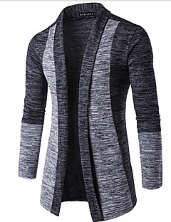 Men's Going out Casual/Daily Simple Regular Cardigan,Color Block Long Sleeves Cotton Spring Fall Winter Medium Micro-elastic