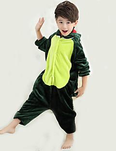 billige Kigurumi-Kigurumi-pysjamas med tøfler Dinosaur Onesie-pysjamas Kostume Korallfleece Grønn Cosplay Til Barne Pysjamas med dyremotiv Tegnefilm