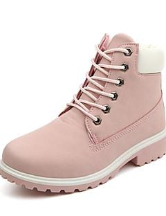 Χαμηλού Κόστους -Γυναικεία Παπούτσια PU Φθινόπωρο / Χειμώνας Πρωτότυπο / Μοντέρνες μπότες / Μπότες Μάχης Μπότες Περπάτημα Χαμηλό τακούνι Στρογγυλή Μύτη Κορδόνια Πράσινο / Ροζ / Ουράνιο Τόξο