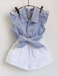 Girls' Casual/Daily Striped Sets,Cotton Summer Sleeveless Clothing Set Ruffle Stripes Blue Red