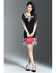 AINIER Women's Going out Casual/Daily Sexy Cute Street chic A Line DressFloral Round Neck Above Knee  Length Sleeve Polyester Spring Mid Rise