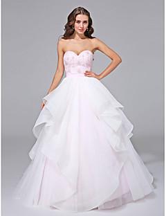 billiga Balbrudklänningar-Balklänning Hjärtformad urringning Svepsläp Organza Bröllopsklänningar tillverkade med Bård / Spets / Bälte / band av LAN TING BRIDE®