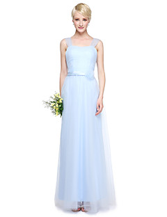 cheap Imperial Blue-Sheath / Column V Neck Floor Length Tulle Bridesmaid Dress with Crystal Detailing by LAN TING BRIDE®