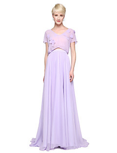 Sheath / Column V-neck Floor Length Chiffon Bridesmaid Dress with Pleats by LAN TING BRIDE®