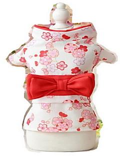 billiga Hundkläder-Hund Smoking Hundkläder Blomma Rosa / Svart / ljusgrön Silkesmaterial Kostym För husdjur Sommar Dam Cosplay / Födelsedag / Bröllop