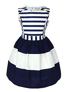 Girl's Casual/Daily Striped Dress,Cotton Summer Sleeveless Stripes Navy Blue