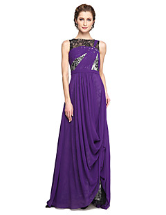 cheap Mother of the Bride Dresses-A-Line Bateau Neck Floor Length Chiffon Lace Mother of the Bride Dress with Beading Lace Pleats by LAN TING BRIDE®