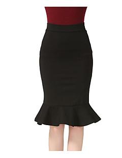 저렴한 -여성 클래식&타임레스 무릎길이 스커트,나와 일상복 N/A 여름 한 색상