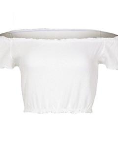 preiswerte Saison für bauchfreien Tops-Damen Solide - Street Schick Ausgehen Festtage T-shirt, Schulterfrei
