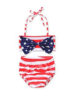 billige Badetøj til piger-Pige Stribet Rosette Stribet Geometrisk Trykt mønster Badetøj, Bomuld Rød