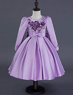 Mädchen Kleid Ausgehen Solide Polyester Sommer Herbst Langärmelige Schleife Rote Purpur