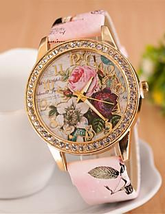 女性用 ファッションウォッチ リストウォッチ ドレスウォッチ ダミー ダイアモンド 腕時計 クォーツ 模造ダイヤモンド PU バンド 花型 ピンク