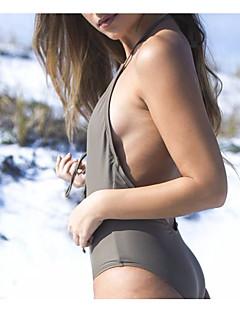 billige Bikinier og damemote 2017-Dame Grime En del Ensfarget / Snøring / stuper