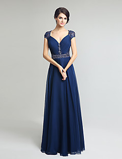 Sheath / Column V-neck Floor Length Chiffon Mother of the Bride Dress with Beading by Sarahbridal