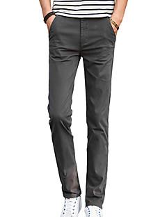 Pánské Jednoduchý Mikroelastické Kalhoty chinos Kalhoty Štíhlý Mid Rise Jednobarevné