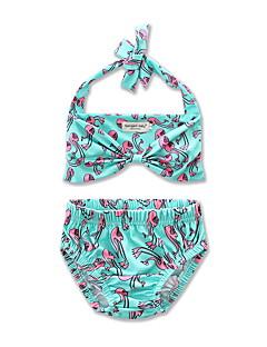 billige Badetøj til piger-Pige Rosette Trykt mønster Badetøj, Bomuld Polyester Grøn